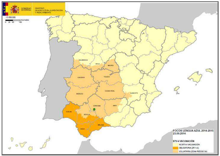 First outbreak of bluetongue located outside of the current restriction zone disease in Spain (Córdoba)